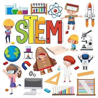 Logo d'éducation stem coloré avec des éléments d'apprentissage