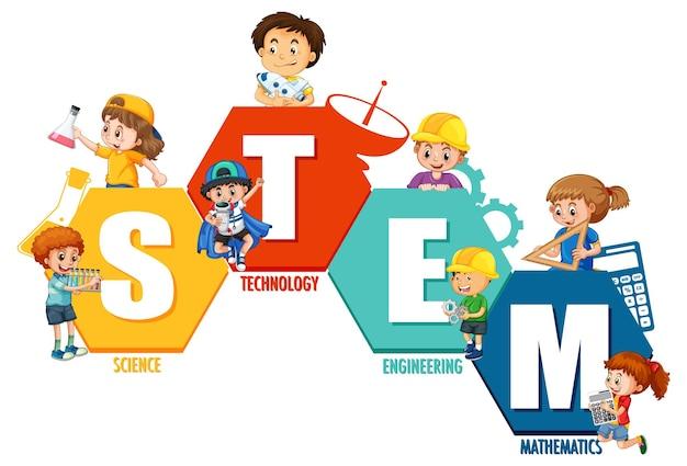 Logo de l'éducation stem avec de nombreux enfants personnage de dessin animé sur fond blanc