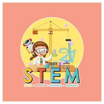 Logo de l'éducation stem avec personnage de dessin animé de fille scientifique