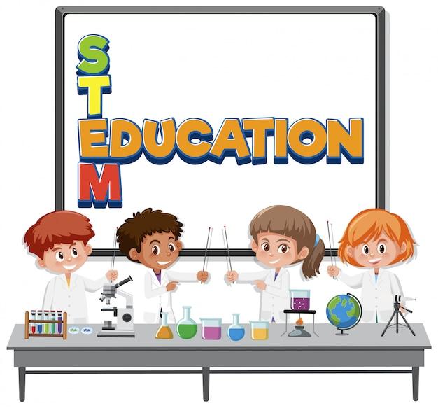 Logo de l'éducation de la tige et enfants portant le costume de scientifique isolé