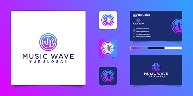Logo de l'égaliseur de musique soundwave et carte de visite
