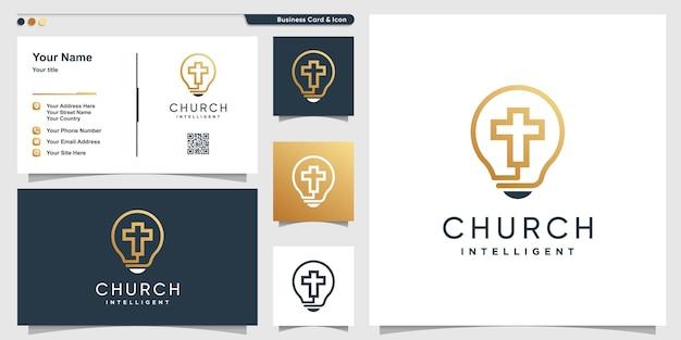 Logo de l'église avec un style d'art de ligne intelligent intelligent et un modèle de conception de carte de visite vecteur premium