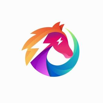 Logo électrique cheval avec concept de dégradé de couleur