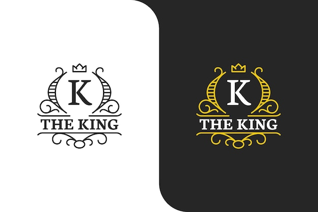 Logo élégant de la lettre k en or