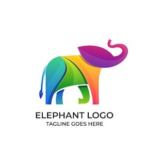 Logo éléphant design coloré