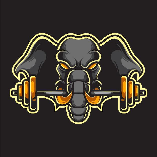 Logo éléphant fitness mascot