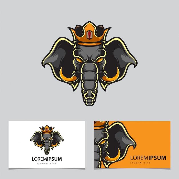Logo éléphant king mascot