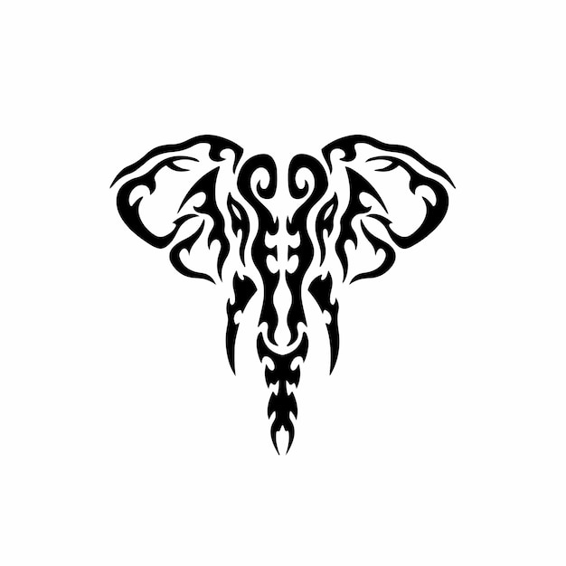Logo éléphant tribal conception tatouage pochoir illustration vectorielle
