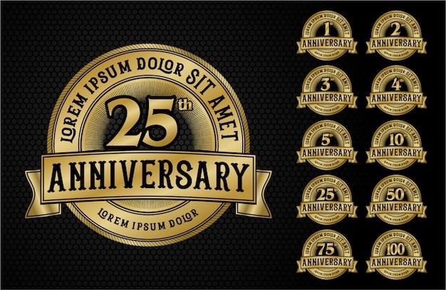 Logo emblème anniversaire style or avec du ruban adhésif