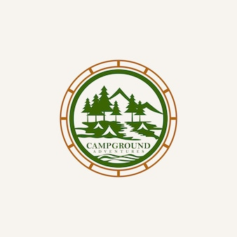 Logo de l'emblème des aventures dans les terrains de camping