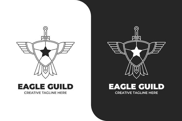Logo d'emblème de bouclier de guilde d'aigle