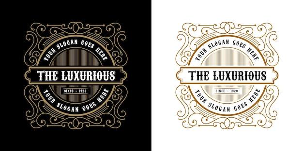 Logo de l'emblème calligraphique victorien de luxe rétro antique avec cadre ornemental adapté au barbier vin artisanat boutique de bière spa salon de beauté boutique antique restaurant hôtel
