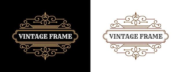 Logo d'emblème calligraphique victorien de luxe rétro antique avec cadre ornemental approprié