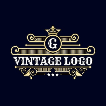 Logo de l'emblème calligraphique victorien de luxe rétro antique avec ornement