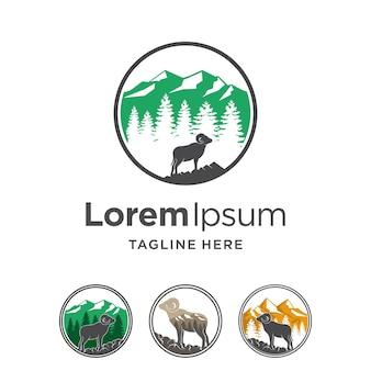 Logo emblème de cerf avec concept multiple