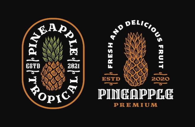 Logo emblème de fruit d'ananas dans doodle vintage