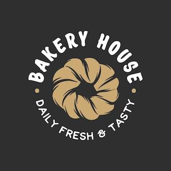 Logo de l'emblème de l'insigne de l'étiquette du magasin de boulangerie de style vintage collection de graphiques linéaires