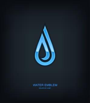 Logo d'emblème de modèle abstrait de l'eau, écologie, idée universelle de technologie d'entreprise