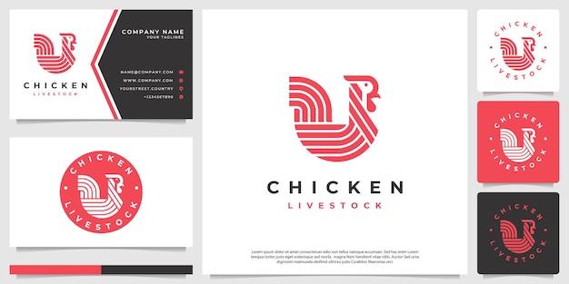 Logo emblème de poulet minimaliste