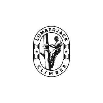 Logo d'emblème de silhouette d'escalade de bûcheron