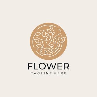 Logo d'emblème de timbre de fleur