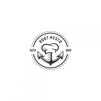 Logo d'emblème vintage de restaurant de port