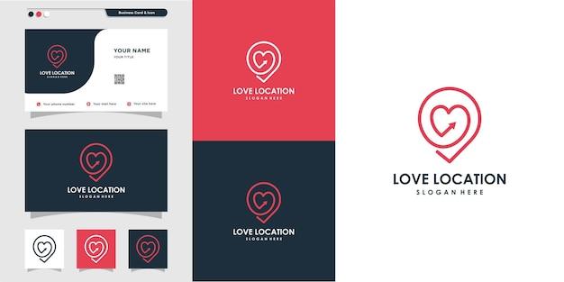 Logo de l'emplacement de l'amour avec un style de ligne créatif vecteur premium