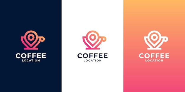Logo d'emplacement de café créatif, création de logo de recherche de café