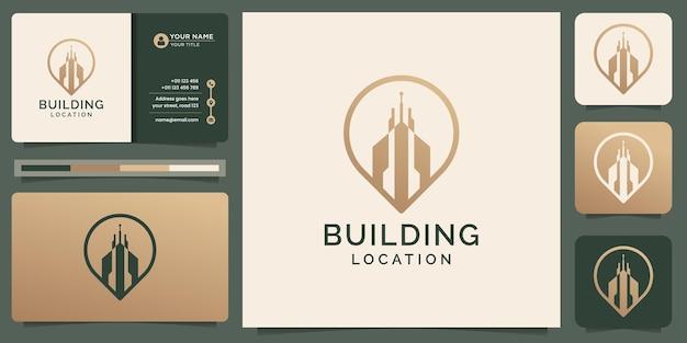 Logo de l'emplacement du bâtiment créatif avec élément de conception de point de constructeur d'or de style art en ligne et conception de modèle de carte de visite vecteur premium