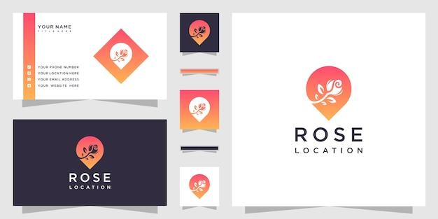 Logo d'emplacement de fleur et carte de visite