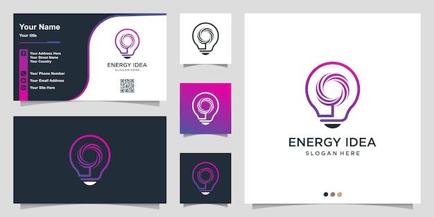 Logo de l'énergie avec une idée de dégradé cool et un modèle de conception de carte de visite vecteur premium