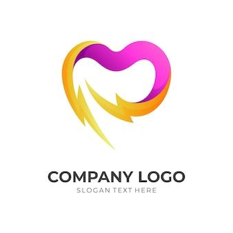 Logo d'énergie de soins, amour et tonnerre, logo combiné avec style 3d de couleur rose et jaune