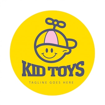 Logo enfant plat simple. bébé, produits pour enfants, magasin de jouets, magasin, logo de bonbons sucrés. icône humaine. icône d'enfants, garçon heureux en personnage de chapeau. portriat plat enfant souriant isolé sur fond blanc.