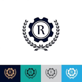 Logo de l'engrenage avec couronne de laurier