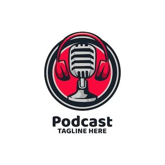 Logo d'enregistrement de nouvelles podcast broadcast mic