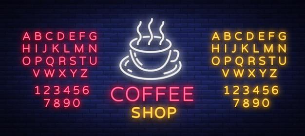 Logo De L'enseigne Au Néon Café Vecteur Premium