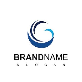 Logo de l'entreprise commerciale avec le symbole de la vague abstraite