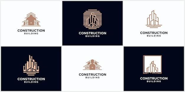 Logo D'entreprise De Construction De Bâtiments De Couleur Marron. Logo De Ligne Géométrique. Conception D'icône De Vecteur De Modèle De Logo Immobilier Vecteur Premium