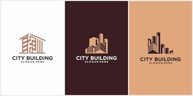 Logo d'entreprise de construction de bâtiments de couleur marron. logo de ligne géométrique. conception d'icône de vecteur de modèle de logo immobilier