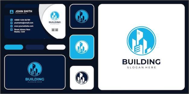 Logo d'entreprise de construction de bâtiments. logo de ligne géométrique. bâtiment de modèle vectoriel dans le cercle avec carte de visite