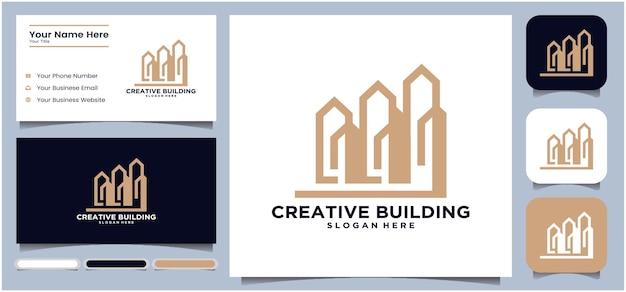 Logo de l'entreprise de construction de bâtiments logo de la ligne géométrique logo de l'entreprise de construction de bâtiments