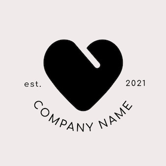 Logo d'entreprise avec forme de coeur noir