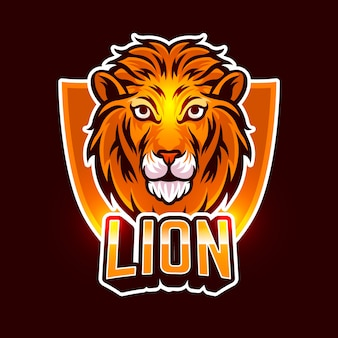 Logo d'entreprise mascotte lion orange