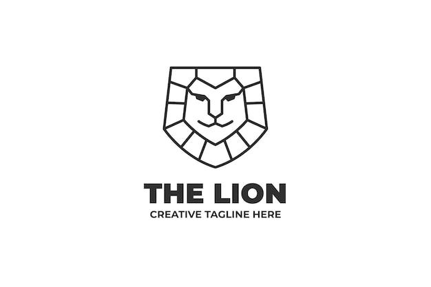 Logo d'entreprise monoline tête de lion simple