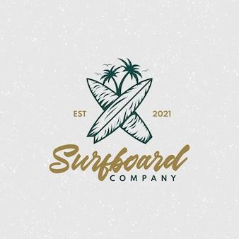Logo d'entreprise de planche de surf vintage