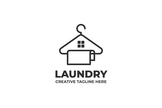 Logo d'entreprise de service propre de cintre de blanchisserie