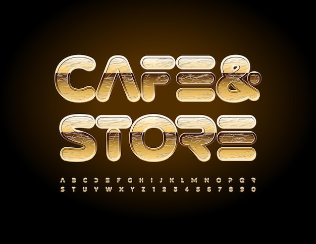 Logo d'entreprise vectorielle café et magasin de style moderne polices rayé or lettres et chiffres de l'alphabet