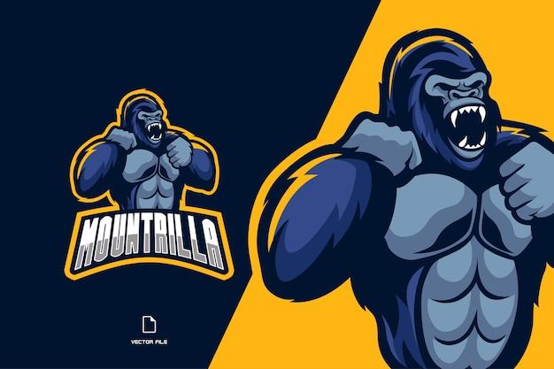 Logo de l'équipe de jeu de sport mascotte gorille en colère