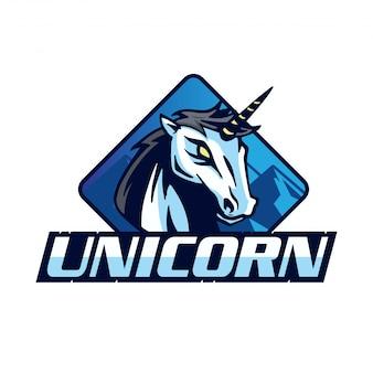 Logo de l'équipe de la licorne moderne sports badge illustration