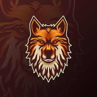 Logo d'équipe de mascotte de loup d'esports